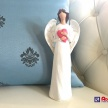 Soška Anjelik biely s červeným srdcom -  725088TRE
