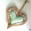 Dekoračné Drevené Srdce + zel.látka stred -  001ART12019HAR