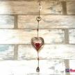 Záves medené Srdce + červená sviečka - 5166200TRE