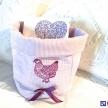 Obal na utierky, uteráky väčší Romantic fialový so sliepočkou