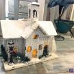 Domček drevenný svietiaci biely -  88139ART