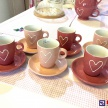 Set 6 šálok + tanierikov Srdiečko ružové -  34342TRE