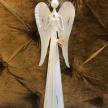 Soška Kovový Anjel biely so srdcom hore ruky - 015BNM0014HAR