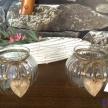 Svietnik sklenený s dekorat.dreveným srdiečkom - 4871000TRE