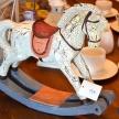 Soška Koník drevený biely Provence veľký Patina - 298257-050TRE