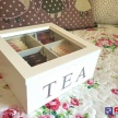 Skrinka / Box na čaj TEA biela  - 93361ART